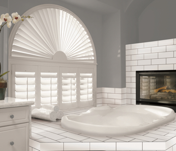 Shutters in New York City bathroom